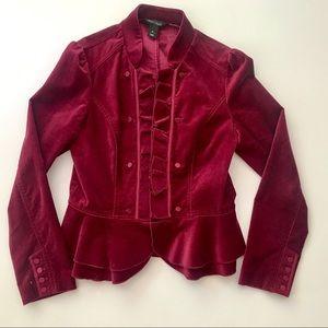 WHBM Cranberry Velvet Blazer